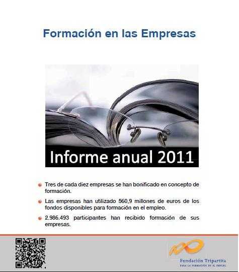 Portada Informe 2011: Formación en las Empresas (Fuente: Fundación Tripartita).